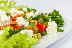 Salad with olives and feta. Salad with olives pepper and feta cheese stock images