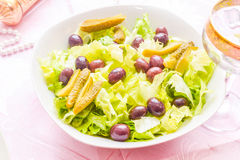 Salad with olives and pickle Royalty Free Stock Photos