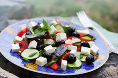 Salad with olives and vegetables Stock Photos