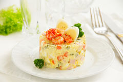 Salad Olivier with crayfish Stock Image