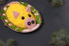 Salad Olivier in the form of a pig on a dark background royalty free stock images