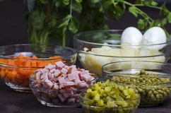 Salad Olivier - ingredients Royalty Free Stock Photo