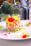 Salad Olivier with salmon, lemon and caviar Stock Images