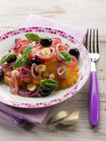 Salad with ox heart tomatoes Royalty Free Stock Photography