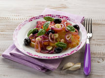 Salad with ox heart tomatoes Royalty Free Stock Photo