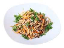 Salad with oyster mushrooms Stock Photo