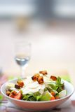 Salad with parmesan cheese and croutons, chicken and tomato Royalty Free Stock Photo