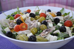 Salad pasta and black olives Royalty Free Stock Image