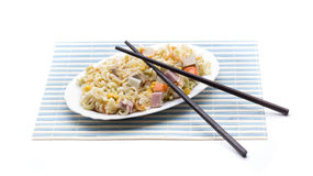 Salad pasta chopsticks Stock Photography