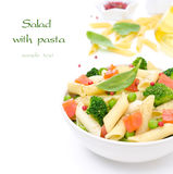 Salad with pasta, smoked salmon, broccoli and green peas Stock Photography