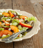 Salad with peach and mozarella Royalty Free Stock Images