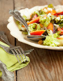 Salad with peach and mozarella Stock Images