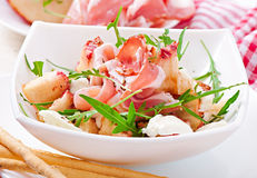 Salad with peach, mozzarella cheese and ham Royalty Free Stock Photography
