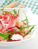 Salad with peach, mozzarella cheese and ham Stock Photos