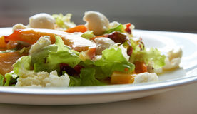 Salad with peaches Royalty Free Stock Photo