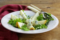 salad with pear and blue cheese Royalty Free Stock Photo