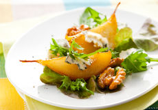 Salad with pears and blue cheese Stock Photo