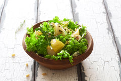 Salad with pears, blue cheese and lettuce Stock Images