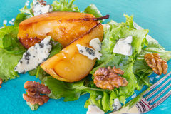 Salad with pears, walnuts and blue cheese Stock Photography