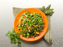 Salad with peas carrots and onions Stock Image