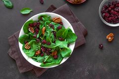 Salad with pecan nuts and dry cranberries
