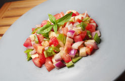 Salad. Pepper tomato tomatoes onion Royalty Free Stock Photos