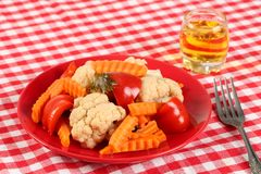 Salad of pickled vegetables cauliflower, paprika and carrot slices in a red plate and a glass of rakia grape, brandy like royalty free stock image