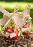 Salad for picnic. Summer salad with strawberry in glass bank for picnic, selective focus Royalty Free Stock Photos