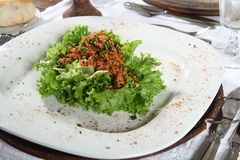 Salad plate. A salad plate of lettuce and bacon bits stock image