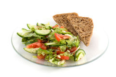 Salad plate with bread Stock Photos