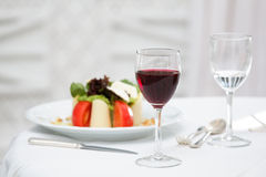 Salad plate and whine Royalty Free Stock Photography