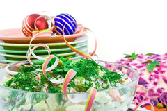 Salad, Plates And Paper Serpentine Stock Photo