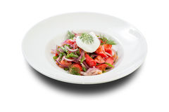Salad with poached egg Royalty Free Stock Images