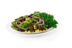 Salad of pods and red beans, corn, chili, onions, Stock Images