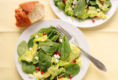 Salad with pomegranate seeds Royalty Free Stock Images