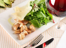 Salad with porcini mushrooms and arugula. On a white plate Stock Photography