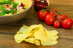 Salad with Potato Chips and Blue Cheese Royalty Free Stock Image