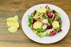 Salad with Potato Chips and Blue Cheese Royalty Free Stock Photo