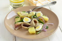 Salad with potatoes, anchovies, quail eggs, beans, onions Royalty Free Stock Images