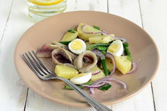 Salad with potatoes, anchovies, quail eggs, beans, onions Royalty Free Stock Photo