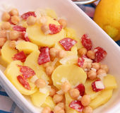 Salad of potatoes and chick peas Royalty Free Stock Images