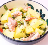 Salad of potatoes with octopus Stock Photo