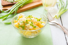 Salad with potatoes and onion. Salad from boiled potato, onion and olive oil Stock Photo