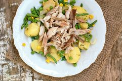 Salad with potatoes,onion,green bean,peas and baked mackerel fish on white plate on wooden background Stock Image