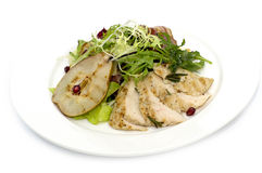 Salad with poultry meat and pear Royalty Free Stock Photo