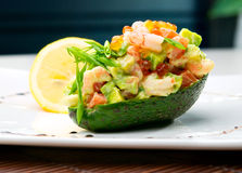 Salad from prawn and avocado Royalty Free Stock Photography