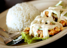 Salad prawn rice. With mayonnaise stock photos