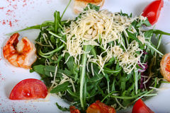 Salad with prawn and rucola. Salad with prawn, tomato and rucola Royalty Free Stock Photos