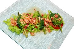 Salad with prawn and vegetables. On the plate Stock Image