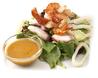 Salad with prawns Royalty Free Stock Photo